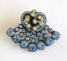 Vintage Coat Lapel Pin Brooch with Blue by MaisonChantalMichael, $30.00