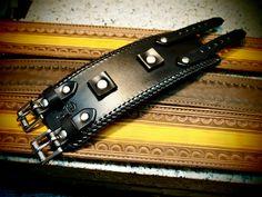 Leather cuff Bracelet Johnny Depp vintage style by mataradesign
