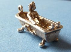 Vintage Opening  Rare Sterling  Silver Charm  a woman in her bath tub     Bracelet charm $26