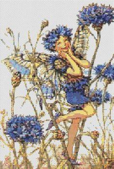 Free Cross Stitch Patterns To Print | Cross Stitch Patterns - Fantasy/Fairies - Cornflower Fairy CROSS ...