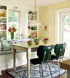 breakfast nook--love the shelves, window seat, the colors, the feeling