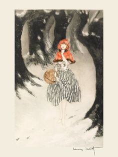 "Girl Little Red Riding Hood Wolf Woods Forest by Louis Icart Toulouse France French Artist 12"" X 16"" Image Size Vintage Poster Reproduction we have other sizes available"