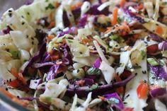 Asian Slaw With Spicy Thai Vinaigrette Recipe - Genius Kitchen - Great slaw on the side or on taco's or sandwiches. Could add cilantro to change it up. Dove Recipes, Sauces, Bbq Salads, Asian Slaw, Spicy Thai, Thai Cooking, Slaw Recipes, Veggie Side Dishes, Kids Nutrition