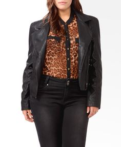 Pebbled Moto Jacket | FOREVER21 PLUS - 2030186205