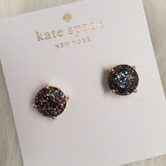 kate spade gumdrop glitter New, never worn. Comes with pouch. Multi color glitter.  no trades. All sales final. kate spade Jewelry Earrings