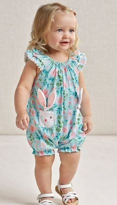 Easter 2019 Floral Bunny Bubble PreorderNewborn to 18 Months Baby Outfits, Baby Girl Dresses Diy, Kids Outfits Girls, Little Girl Dresses, Baby Frocks Designs, Kids Frocks Design, Baby Girl Fashion, Kids Fashion, Baby Girl Dress Patterns