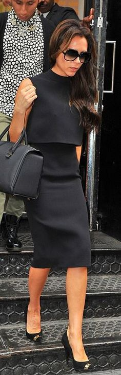 Who made Victoria Beckham's black skirt, black top, sunglasses, and handbag that she wore in New York?