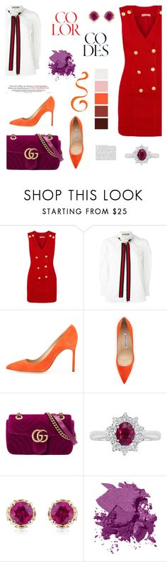 """color codes"" by heloisacintrao ❤ liked on Polyvore featuring Pierre Balmain, Gucci, Manolo Blahnik, EWA, Theo Fennell, Bobbi Brown Cosmetics, Whiteley, pierrebalmain and colorcodes"