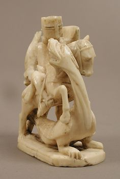 Chess Piece in the Form of Knight, ca. 1250, probably made in London, walrus ivory.