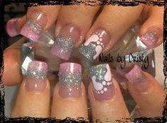 Nail art from the NAILS Magazine Nail Art Gallery, mixed media, glitter acrylic, hand painted nail art, Baby Nail Art, Baby Girl Nails, Girls Nails, Love Nails, How To Do Nails, Fun Nails, Pretty Nails, Girls Nail Designs, Cute Nail Designs