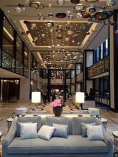 Evening view of the lobby at The Langham, Chicago. July 10, 7 p.m.