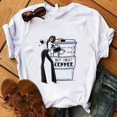 Coffee T Shirt Lady Luxury Make Up T-Shirt Women Summer Casual Short T – Outfitter Style Collars For Women, T Shirts For Women, Fresh Tops, Cute Tshirts, Short Tops, Direct To Garment Printer, Outfits For Teens, Shirt Style, Womens Fashion