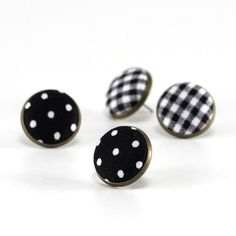 Stud Earrings Black and White Polka Dots by PatchworkMillJewelry