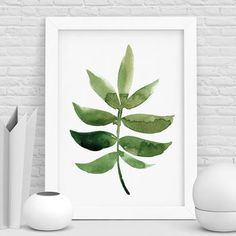 Botanical Print Watercolour Leaf