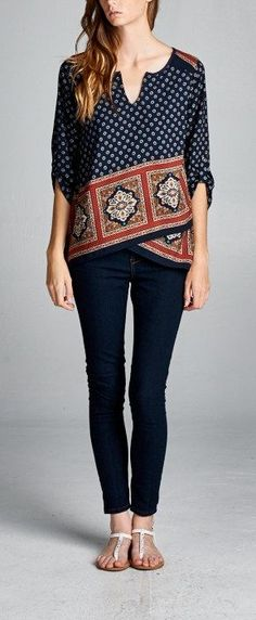 Great top with some skinny jeans and sandals. Like the pattern.