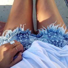 Distressed shorts plus lace print paint easy DIY