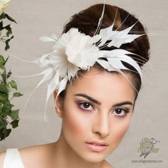 Feather and Flower Headband Bridal 11  available at #Brighton