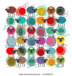 Knitting Yarn Balls and Sheep Abstract Square Composition. Vector EPS 8 graphic illustration of brightly colored yarn balls with sheep. All...