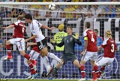 Level pegging: Denmark's Michael Krohn-Dehli (left) scores the equaliser against Germany (final 1 - 2 Germany) June 17, 2012