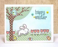 Happy Easter Spring Scene Card