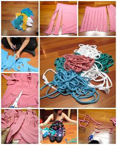 How to make yarn with used t shirts step by step DIY tutorial instructions | How To Instructions