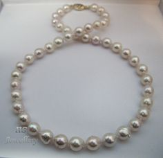 ";HS #Baroque Japanese #Akoya Cultured #Pearl 9X10mm 14K w/ #Diamonds #Necklace 18"" #FreeShipping #Jewelry #Anniversary"