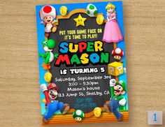 Super Mario Birthday Card ------------------------------------ Personalized their birthday special with this unique Birthday Party Invitation! This listing is for one digital invitation personalized with your event details. You will receive a printable JPG file via email, no physical items will be shipped. You will be responsible for the printing of your invitations. How it Works (Easy) ▸ Add item(s) to your cart and complete checkout. ▸ After completing payment, please submit your person...