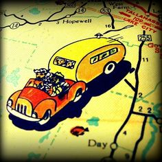 RETRO VACATION 1960's vintage travel trailer map