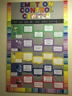 Inside out themed emotion control center bulletin board for ages 5-11.