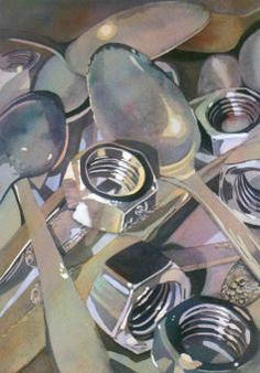 Soup to Nuts, Laurie Goldstein-Warren. Idiom still life, or opposites still life. Ap Drawing, Still Life Drawing, Still Life Art, Painting & Drawing, Reflection Art, Ap Studio Art, A Level Art, Ap Art, High Art