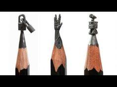 opere d'arte matite micro sculture con le mine grafite punta di matita artisti - YouTube