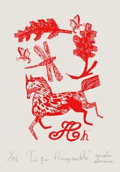 H is for Honeysuckle, print by Cornelia ODonovan