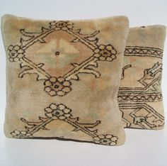 """18"""" 2 CARPET PILLOW SET140 HANDKNOTTED BEIGE SQUARE WOOL TURKISH AREA RUGS 15+ #Turkish"""