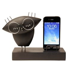 Wood Owl phone stand FREE SHIPPING wood dock by GalleriaCentral, $69.00