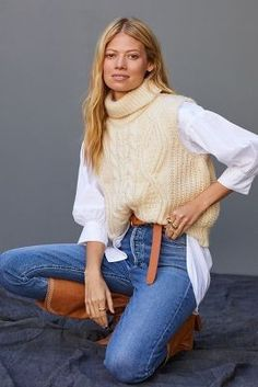 New Woman, Knit Vest, New Outfits, Fall Looks, Cable Knit, Anthropologie, Must Haves, Mom Jeans, Turtle Neck