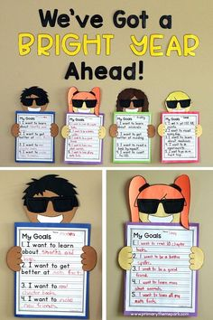 """Student goal setting and back to school bulletin board for first second and third grade. Includes printable templates letters to make the phrase """"We've Got a Bright Year Ahead!"""" and goal setting questions to help students brainstorm their goals. Back To School Art, Back To School Bulletin Boards, Back To School Night, Back To School Crafts, 1st Day Of School, Beginning Of The School Year, September Bulletin Boards, Writing Bulletin Boards, Door Bulletin Boards"""