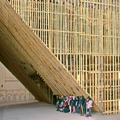 Image 5 of 17 from gallery of Taichung Infobox / Stan Allen Architect. Courtesy of Stan Allen Architect Tectonic Architecture, Bamboo Architecture, Architecture Details, Sustainable Building Materials, Bamboo Building, Bamboo Structure, Bamboo Construction, Bamboo Art, Bamboo House