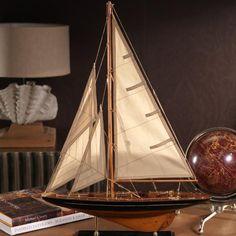"Small Wooden Model Sailboat 19.75"" x 4.25"" x 28"""