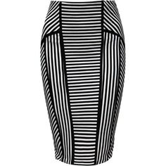 Jane Norman Stripped Pencil Skirt ($45) ❤ liked on Polyvore