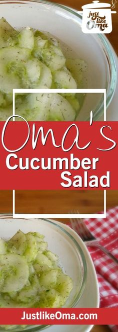 Oma& German cucumber salad is so delightfully refreshing, especially in the summer. It& a perfect side dish for almost any meal. Cucumber Recipes, Healthy Salad Recipes, Veggie Recipes, New Recipes, Cooking Recipes, Favorite Recipes, German Recipes, Juicer Recipes, Fast Recipes