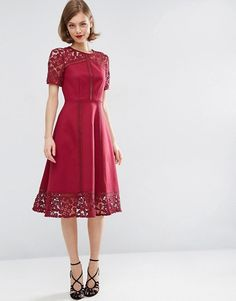 ASOS | ASOS Premium Lace Insert Full Midi Dress