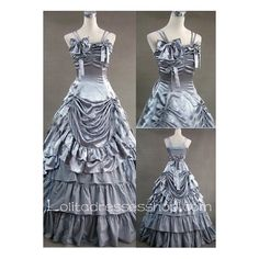 Gothic Victorian Super Exquisite silver Straps Long Lolita Dress ($115) ❤ liked on Polyvore featuring dresses, long dresses, long gothic dress, gothic clothing dresses, victorian goth dress and gothic victorian dress