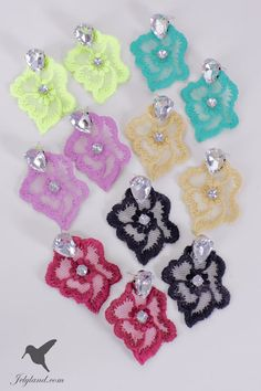 Magenta / fuchsia macrame earring Spring with strass by JelyLand, €16.00
