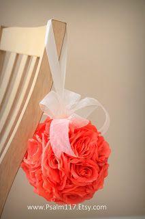 Psalm117.Etsy.com: Coral Salmon Wedding Pomander Flower Balls - coral wedding pomander kissing ball flower ball salmon wedding color chart - salmon wedding decor