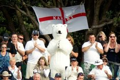 March 16, 2013: An English fan surrounded by the Barmy Army during the second Test in Wellington on Day 3 of the second Test.