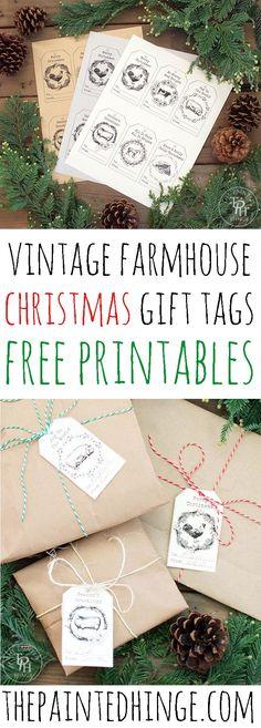 Vintage Farmhouse Christmas Gift Tags! Free Printables!