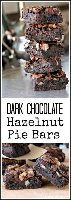 Dark Chocolate Hazelnut Pie Bars Recipe - easy homemade gourmet dessert! SnappyGourmet.com