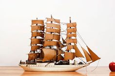 ANTIQUE WOOD & CARD SHIP- on Archer and Archer