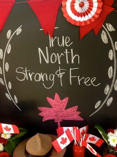 Chalkboard sign at a Canada Day party! Canada Day Party, Dinner Themes, Party Themes, Party Ideas, Diy Ideas, Party Kit, Party Packs, Canada Celebrations, Canadian Party