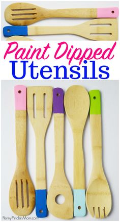 I love this simple DIY project! Create paint dipped utensils to give your kitchen decor a splash of color. They make the perfect gift for teachers, bridal showers, weddings, Mother's day and more! Fun Crafts For Kids, Easy Diy Crafts, Kid Crafts, Diy Kitchen Decor, Kitchen Hacks, Paint Dipping, Mother Gifts, Mothers, Easy Craft Projects